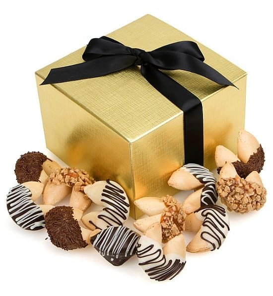 Looking for a unique birthday gift for the man or woman who has everything? Brighten his or her day with gourmet chocolate-dipped fortune cookies that feature Happy Birthday fortunes!