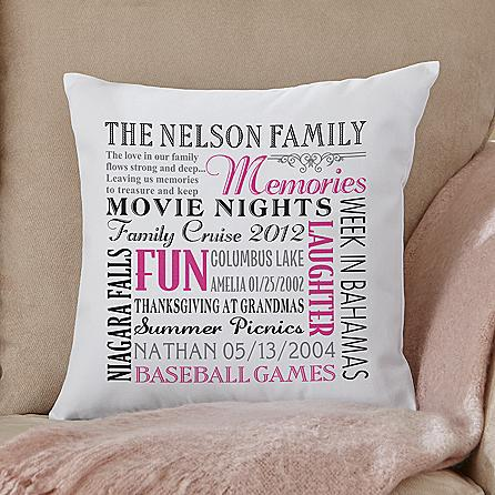 Unique 90th Birthday Gift Ideas - Adorable keepsake pillow that features 10 of your favorite memories is a wonderful gift for someone turning 90!