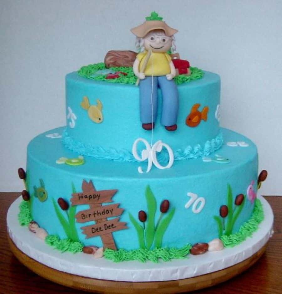 90th birthday cakes and cake ideas for Fishing birthday cake