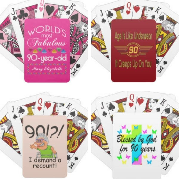 90th Birthday Gift Ideas - Looking for a fun but affordable gift for someone who is celebrating their 90th birthday? Delight him or her with a deck of personalized playing cards!