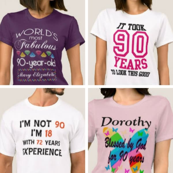 90th Birthday Shirts and sweatshirts - Show your age with pride with a fun 90th birthday shirt or sweatshirt. Choose from loads of styles, including personalized shirts. Fabulous 90th birthday gift ideas for any senior!