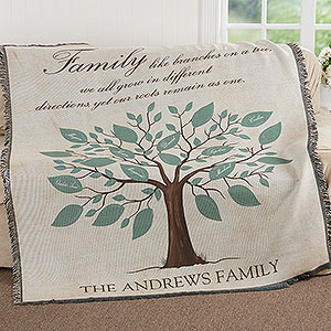 90th Birthday gift ideas - Thrill your favorite man or woman who is turning 90 with a personalized family tree throw.