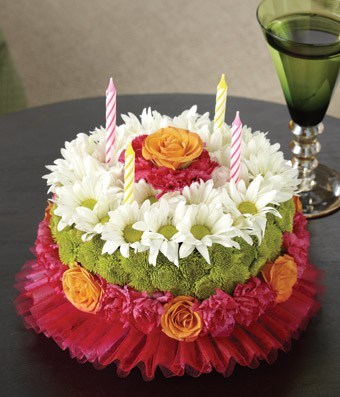 Flower Cake - Surprise someone on a special birthday with this gorgeous cake that's made from real flowers! A unique gift for any special birthday.