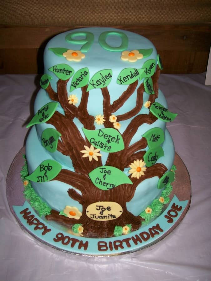 Happy 90th Birthday Family Tree 3 Tier Cake with Names