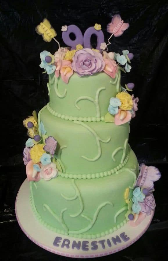 Beautiful Floral Cake For 90th Birthday