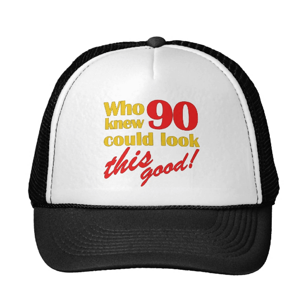 90th Birthday Hats - Are you shopping for a great gift for someone turning 90? Treat them to a 90th birthday hat...a fun gift idea that's useful and affordable!