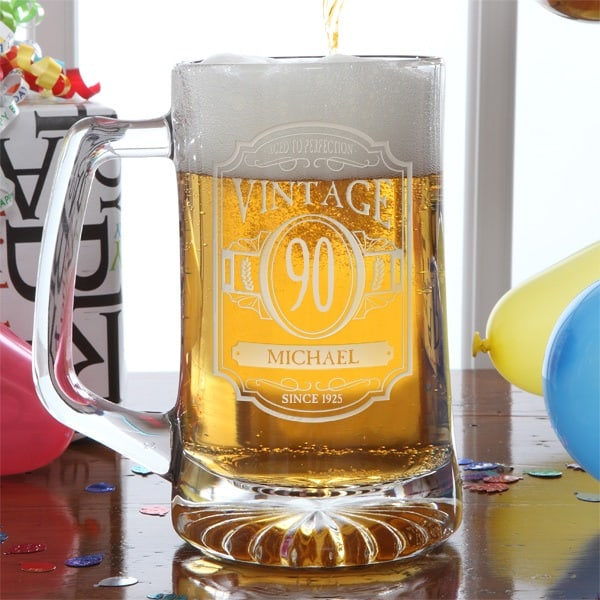 90th Birthday Gifts for Men - Looking for a fun but affordable birthday gift for Dad, Grandpa or another man who is turning 90? Impress him with a personalized 90th birthday beer mug!