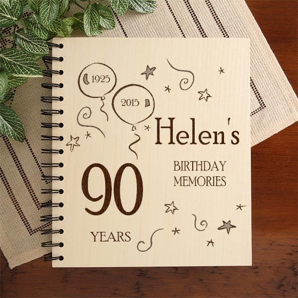 Personalized 90th Birthday Photo Album - Your favorite senior can preserve photos from their 90th birthday celebration in this striking wooden photo album.