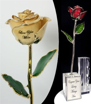 Personalized Gold Tipped Real Rose