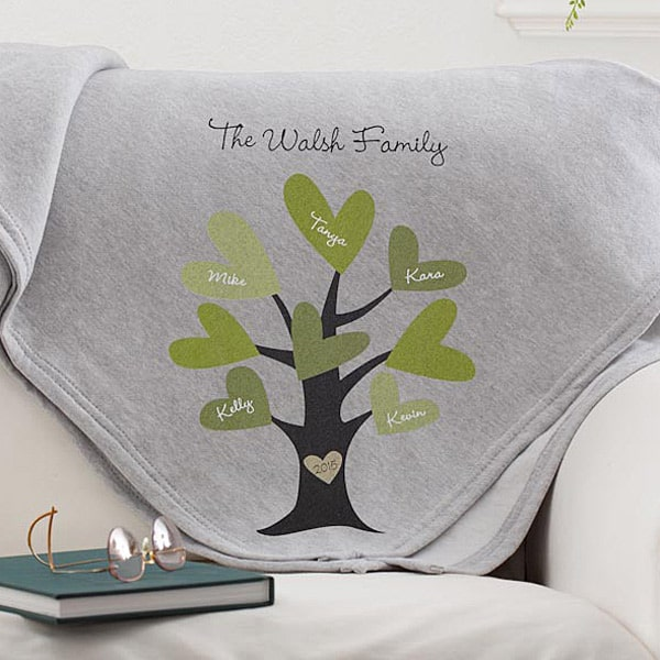 Cozy family tree blanket is a perfect gift for the hard-to-buy for senior!