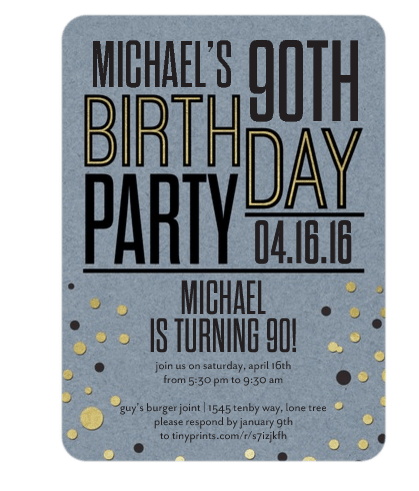 90th birthday invitations and invitation wording when choosing 90th birthday party invitations for dad grandpa or another favorite man look for masculine colors and themes stopboris Image collections