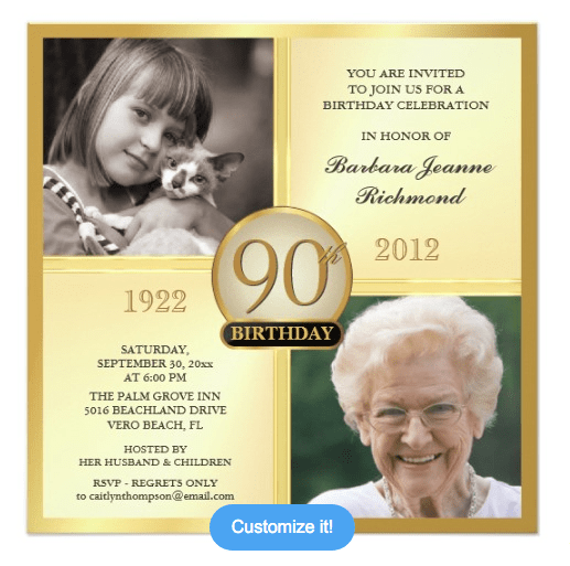 90th birthday invitations and invitation wording, Birthday invitations