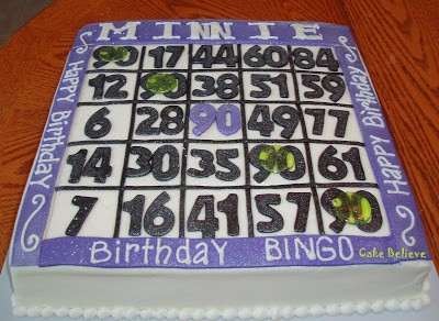 Homemade 90th Birthday Bingo Cake