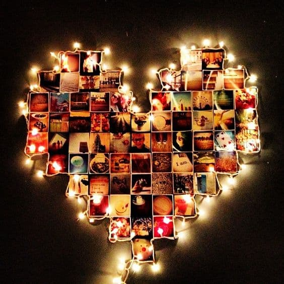 90th Birthday Heart Photo Display with Lights