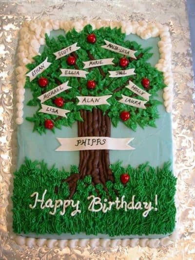 Homemade Family Tree Happy 90th Birthday Cake