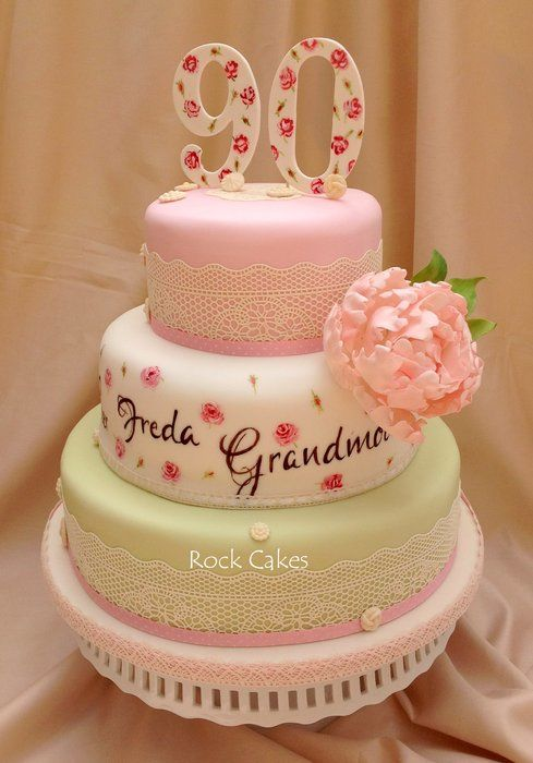 Elegant 90th Birthday Floral and Lace Cake