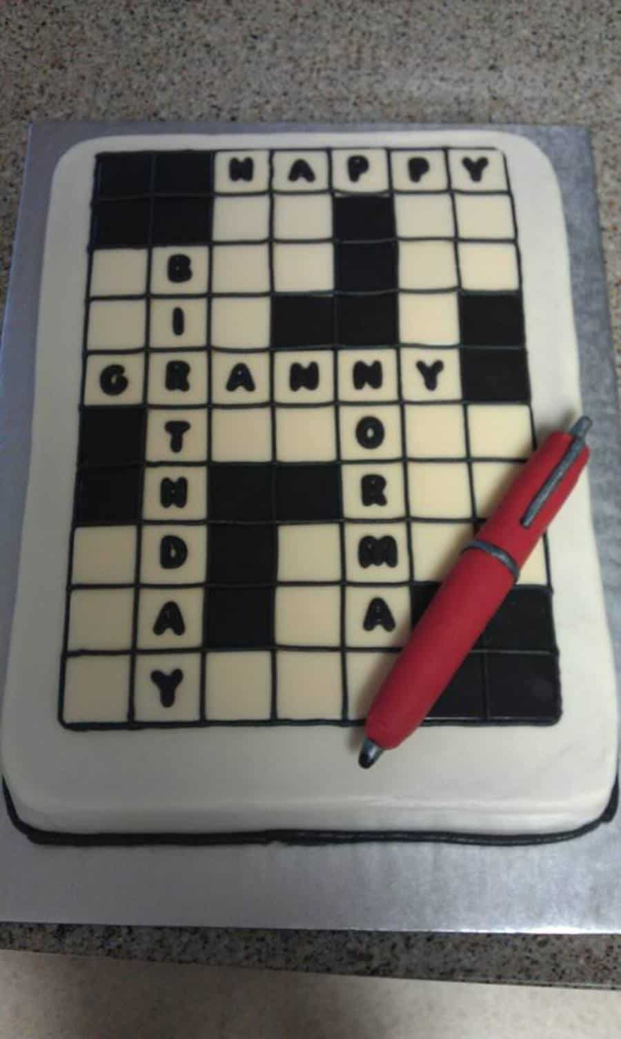 90th Birthday Crossword Puzzle Birthday Cake