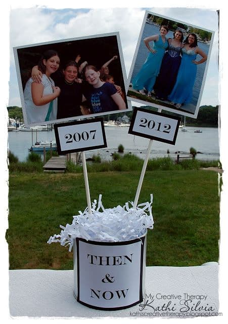 90th Birthday Then and Now Photo Table Decorations