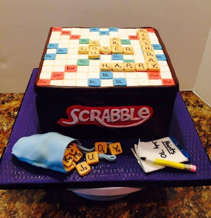 90th Birthday Scrabble Cake