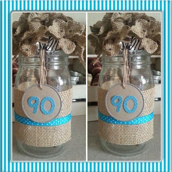 Burlap Flower 90th Birthday Centerpieces