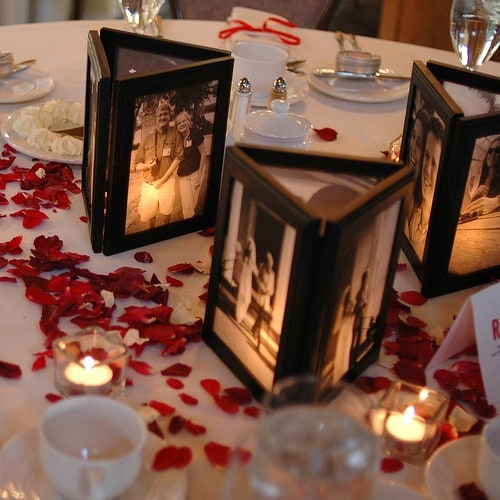 DIY 90th Birthday Photo Centerpieces
