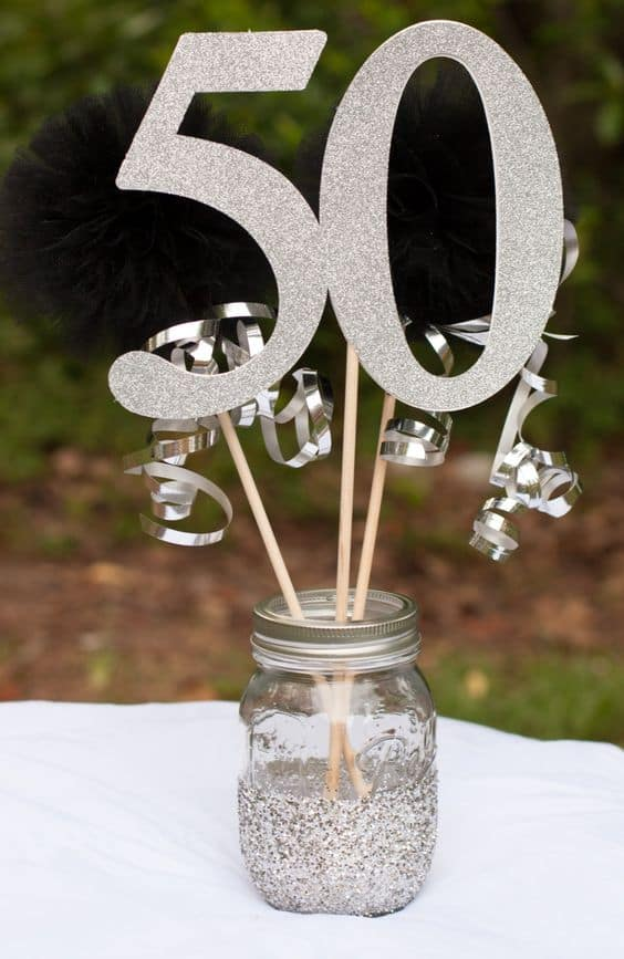 Glitter Number 90 Table Centerpieces