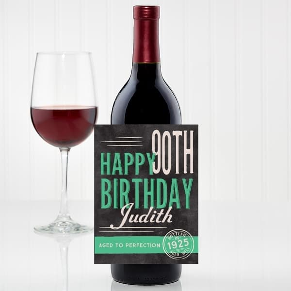 90th birthday wine bottle label - Quickly create a delightful 90th birthday gift by adding a personalized wine bottle label to his or her favorite bottle of wine. Click for details.
