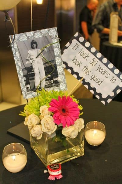 Funny Table Centerpieces for a 90th Birthday Party
