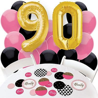Festive pink, black and gold 90th birthday supplies are perfect for a lady's 90th birthday celebration!