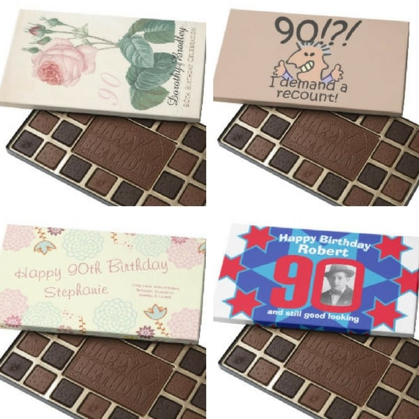 90th Birthday Chocolates - looking for a sweet gift for the man or woman who is turning 90? Delight him or her with personalized 90th birthday chocolates!