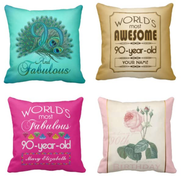 90th Birthday Pillows - choose from over 200 festive pillow designs that are perfect 90th Birthday gifts!