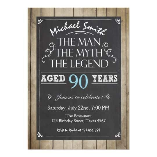90th Birthday Party Invitation For A Man