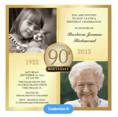90th Birthday Invitations - Set the tone for an amazing celebration with the perfect invitations!