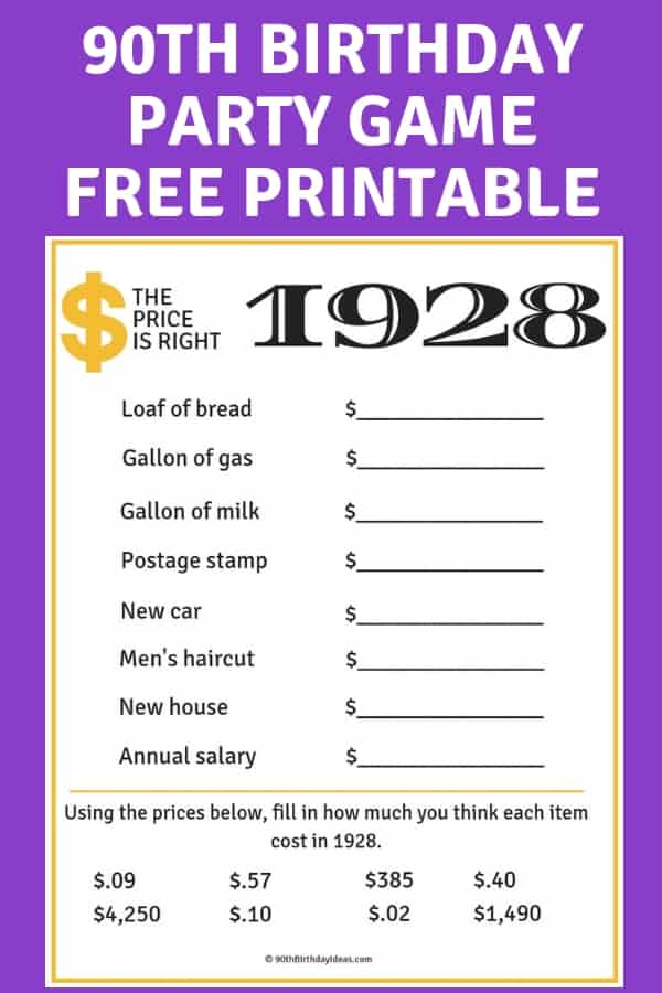 90th Birthday Party Games - Looking for fun games to play at a 90th birthday party? Guests of all ages will enjoy guessing the correct prices from 1928 with this fun free Price is Right game. Click to download. #90thBirthdayIdeas.com #90thBirthday #birthday #birthdayparty #partygames