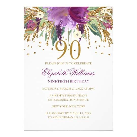 90th Birthday Party Invitations For A Woman