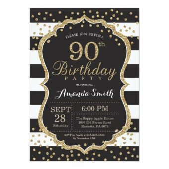 Vintage Rose 90th Birthday Party Invitations For A Woman Black And Gold Glitter Striped