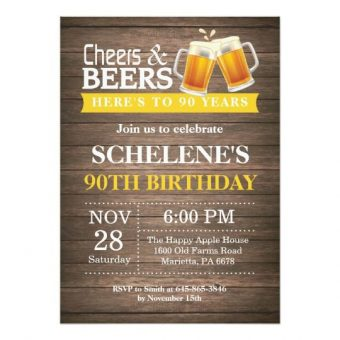 Cheers Beers To 90 Years Party Invitations