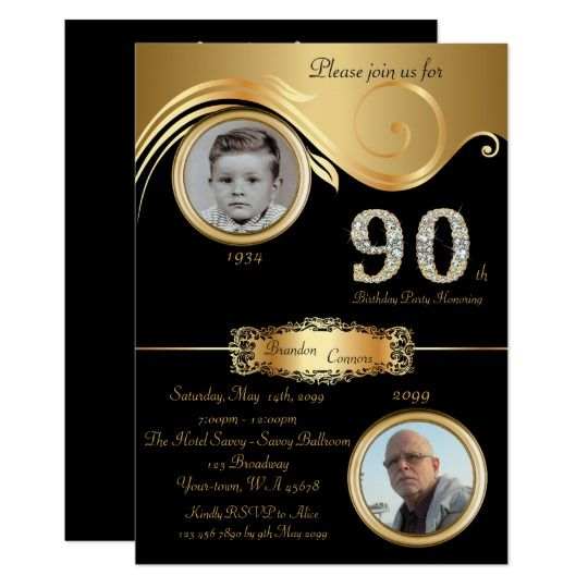Elegant Photo Invitation For A 90th Birthday