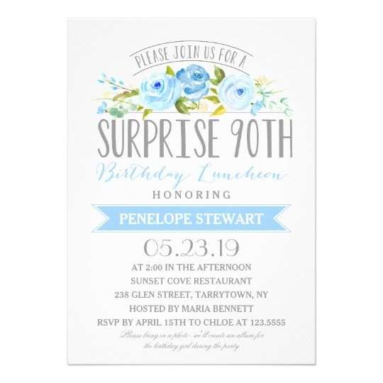 Funny Surprise Party Invitations Blue Floral 90th Birthday