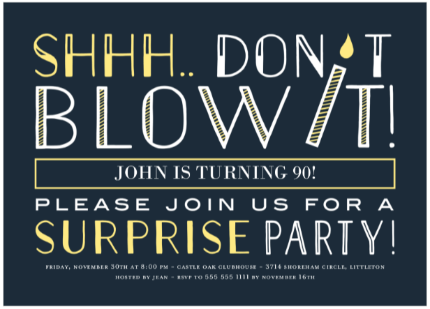 Surprise Party Photo Invitations Funny