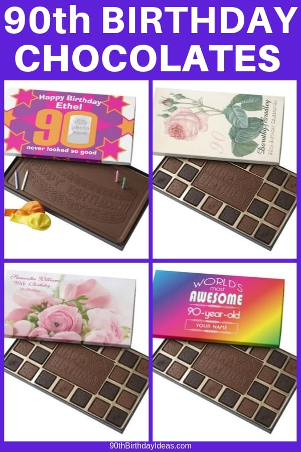 90th Birthday Gifts for the woman who has everything - Delight even the pickiest 90 year old with a personalized box of Belgian chocolates! Sweet gift idea for the hard-to-shop-for 90 year old. #90thBirthdayIdeas #90thBirthday #giftsforher