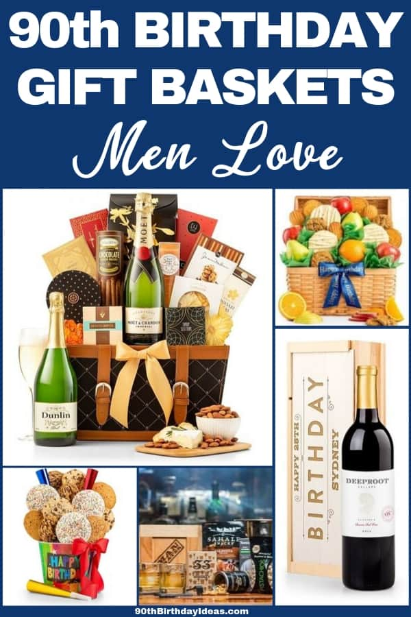 90th Birthday Gift Baskets for Men - Impress Grandpa, Dad or another 90 year old man with an amazing gift basket Click to see the best gift baskets for 90 year olds - prices start at under $30. #90thBirthdayIdeas #90thBirthday #grandpagifts