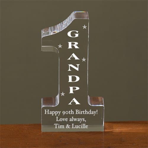 Gifts for 90 Year Old Grandpa - Let your grandfather know that you think he's #1 with this adorable personalized acrylic sculpture. Add any name to the center, and then add your own personalized message to the bottom. A birthday, Father's Day or Christmas gift that Grandpa will treasure! #90thBirthdayIdeas #90thBirthday #grandpagifts