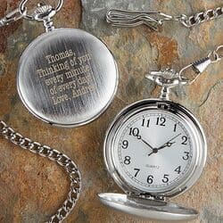 Monogrammed Silver Pocket Watch with Personal Message