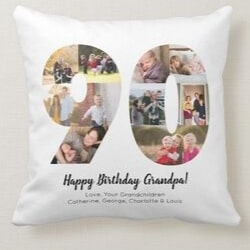 Personalized 90th Birthday Photo Pillow