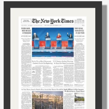 NY Times Front Page Reprint - Framed or Unframed