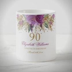 Personalized Floral 90th Birthday Coffee Mug