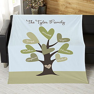 Leaves of Love Family Tree Blanket with up to 8 Names