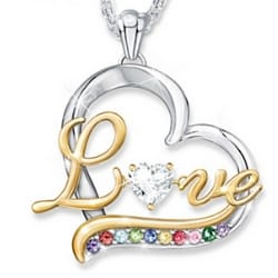 Heart of Our Family Birthstone Necklace
