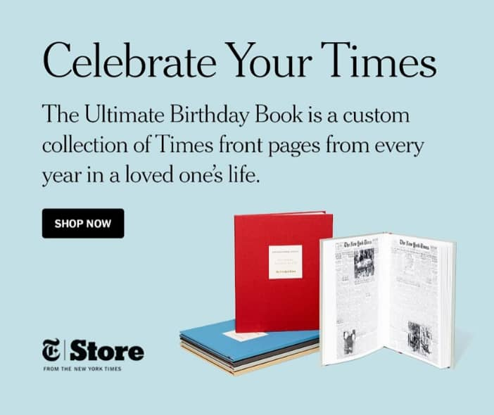 Best 90th Birthday Gift Ideas - Impress any man or woman who is turning 90 with The New York Times Ultimate Birthday Book...every birthday front page from all 90 years! Click for details, or to see 50+ unique birthday gifts for 90 year olds.